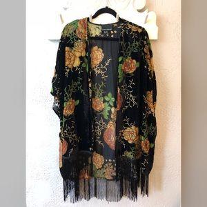 Black velvet kimono size s